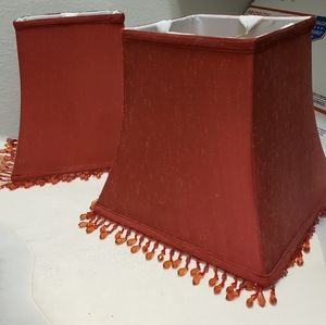"""Pair:Two Cranberry Red Beaded 10"""" Tall Lamp Shades"""